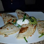 Shrimp quesadillas with spinach.