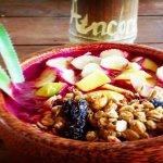 Dragon fruit bowl with granola honey musli and fresh fruit