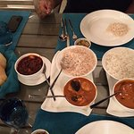 Goan Prawn curry and Fish curry... with rice and pau... At Cafe Azul....Yummy!