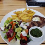 Sirloin, with herby wedges and greek salad. Delicious
