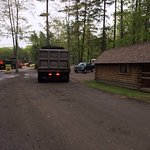 Where the trucks parked at 6AM. The cabin was ours. Imagine the noise