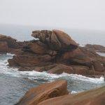 Rochers de granite rose battus par la mer.