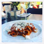 Pasta alla Norma from their Tour Through Italy menu paired with local Italian wine