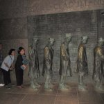 The Roosevelt Memorial at night with fewer visitors