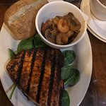 Grilled Tuna with sauteed shrimp and mushrooms