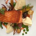 Salmon with parsnip puree (yum) and peas/potatoes