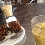 Yummy brownie and ice coffee