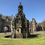 The fountain with Holyrood House in the background.