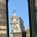 Sculpture in Scott Monument & the Balmoral Hotel clock tower in the background.