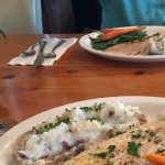 Fresh local white fish, mashed potatoes and fresh vegetables.