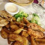 brochette de poulet et potatoes