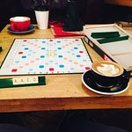 Scrabble and a flat white
