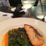 Had the pan roasted crispy-skin salmon.  It was fabulous!  Quinoa, baby turnips carrot salad.  I