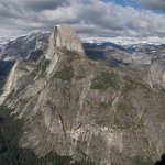 Half Dome with the Giant Stairway of Vernal and Nevada Falls