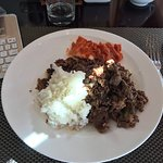 Delicious plate of Bulgogi, Kimchi and rice. What a breakfast!