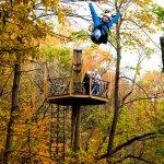 Fall shot flying on the zipline