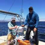 Steering the sailboat with Captain Mark