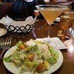 Caesar salad, turkey sandwich, and chicken pie with onion biscuit crust.