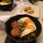 Skillet brunch entree with biscuits