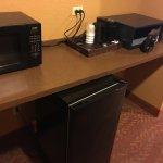 Fridge, Micro, safe, coffee machine, the usual.