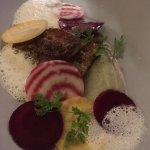 sautéed foie gras with artichoke cream, fresh beats