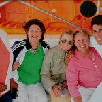 Minerva, Linda, Clare and me on the boat with the crew