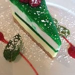 Mint mousse cake in honor of the Mint Museum!