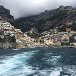 View of Positano from boat.