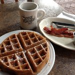 Blueberry waffles, bacon and coffee. Great start to the day