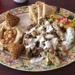 The Chicken Plate includes Falafel, hummus, and pita