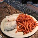 Turkey wrap with EXCELLENT sweet potato fries