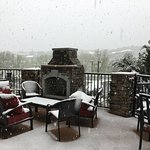 Back patio, overlooking Pikes Peak, not visible due to May SNOW!