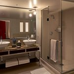 Shower with his & hers vanity