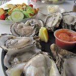 Oysters on the halfshell with Salad
