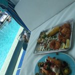 Lunch pool side in my cabana. The yuca fries were amazing