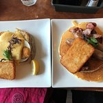 Salmon and Sausage w/ Pancake