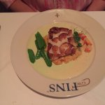 Scalibut, sea scallops, halibut, lobster risotto and snow peas