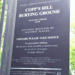 Sign posted at entrance to Copp's Hill Burying Ground, North End, Boston, MA.