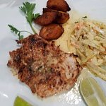 fish with cole slaw and plantains