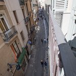 View from second-floor room to Carrer de Sant Pau towards La Rambla