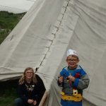 Checking out the teepee.