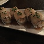 TRUFFLED TAI YUZU ROLL fresh crab meat, fresh snapper, tempura fakes