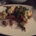 WHITE SNAPPER MILANESE salmon roe gribiche, brussels sprouts with tamarind and bacon