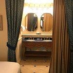 Royal Room - Duel vanity sinks behind the drapes