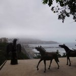 Sculpture garden overlooking the ocean