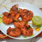 Tandoori prawns with a dash of lime and pepper.