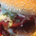 Whiskey River BBQ Burger w/Garden Burger, fries and Pretzel Bites