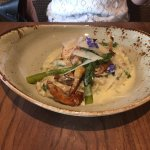 Guinea fowl with truffle risotto and asparagus