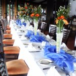 Tables was decorated beautifuly. Colours was blue and orange.