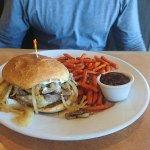 Prime rib burger with sweet potato fries